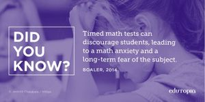 Timed math tests can discourage students, leading to math anxiety and a long-term fear of the subject.