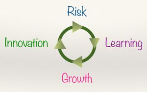 illustration of a circle with the words risk, learning, growth, and innovation around it