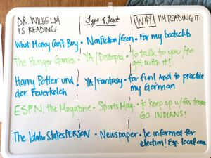 A whiteboard list of the author's recent reading