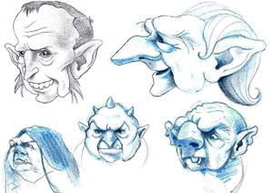 Concept sketches for the giants' heads