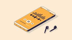 Illustration of smartphone and wireless headphones