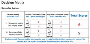Decision matrix chart