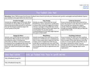 Peer feedback chart
