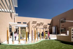 Learning zones in the courtyard of Daugherty Elementary School in Garland, Texas.