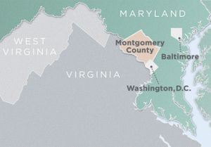 Map of Montgomery County, Maryland