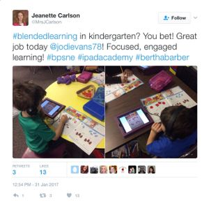 Screenshot of a teacher's tweet and photos showing blended learning in kindergarten