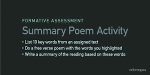 Summary Poem Activity: List 10 key words from an assigned text; do a free verse poem with the words you highlighted; write a summary of the reading based on these words