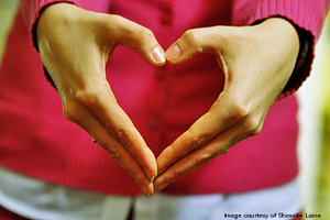 Heart made with hands