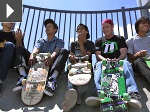 """Bill Robertson, known to some as """"Dr. Skateboard,"""" talks to 4 boys about the physics of skateboarding."""