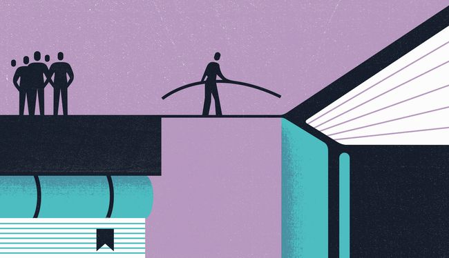 Illustration concept showing bridging the gap in bookshelf equity